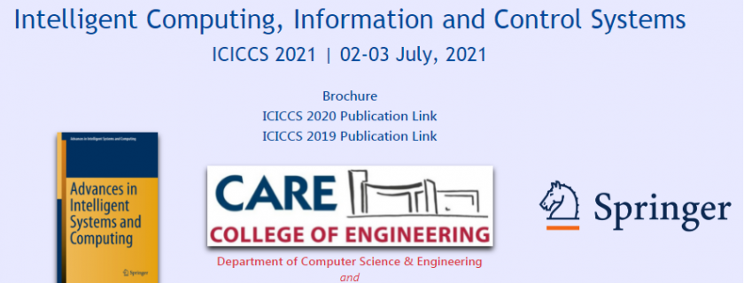 3rd International Conference on Intelligent Computing, Information and Control Systems