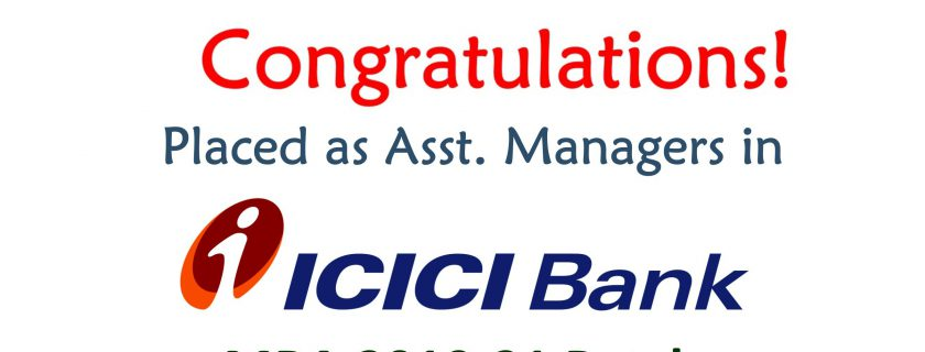 MBA 2019-21 Batch – Placed in ICICI Bank