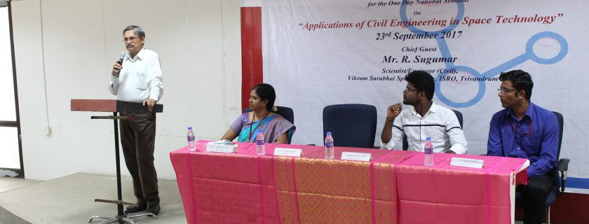 """One Day National Seminar on """"Applications of Civil Engineering in Space Technology"""" On 23/09/2017"""
