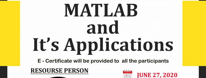 """6th webinar on """"MATLAB and It's Applications ''"""