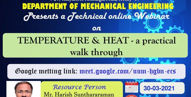 "12th Webinar on "" Temperature & Heat- a practical walk through"""